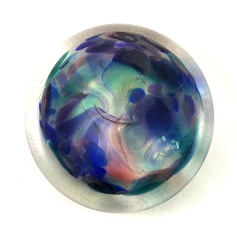 Rondel for Stained Glass Work, Mixed Blues, Purple, White 1.5""