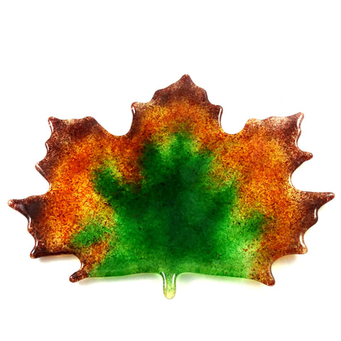 Large Art Glass Fall Maple Leaf, Green, Orange, Amber, Red