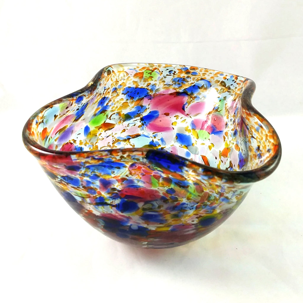 Handmade Art Glass Bowl, Freeform, Multi Color, Small