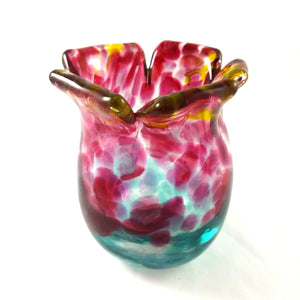 Handmade Art Glass Vase, Blue, Red, Yellow, Flower Top, Small