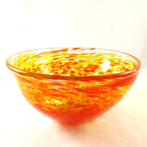 Handmade Art Glass Bowl, Orange and Yellow, Mother's Day Fall Gift