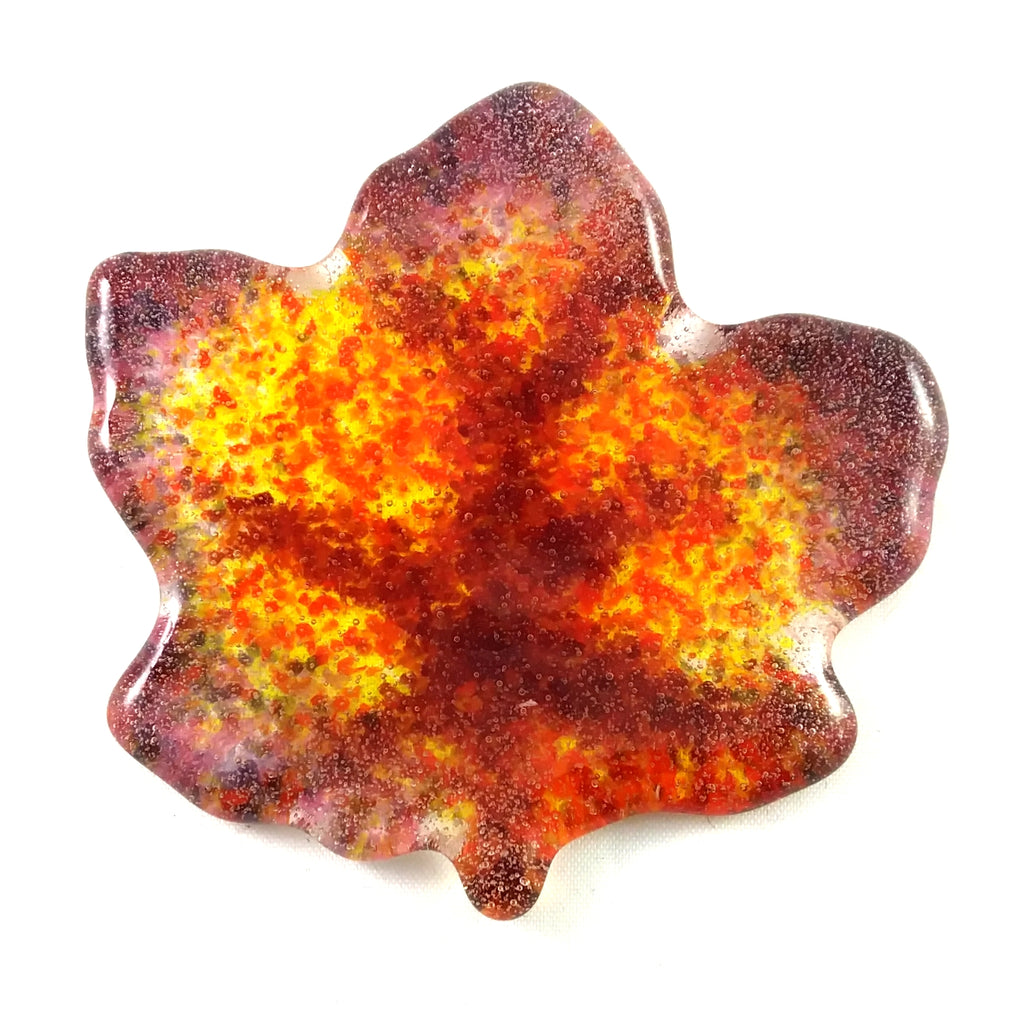 "Small Art Glass Maple Leaf, 2.75"", Red Orange Yellow Purple"