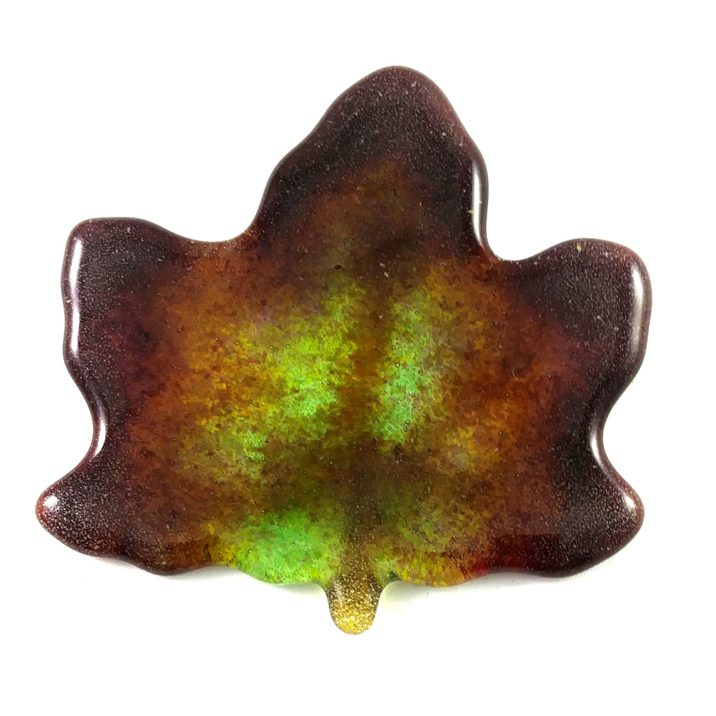"Small Art Glass Maple Leaf, 3.5"", Green Red Orange Yellow Amber Purple"
