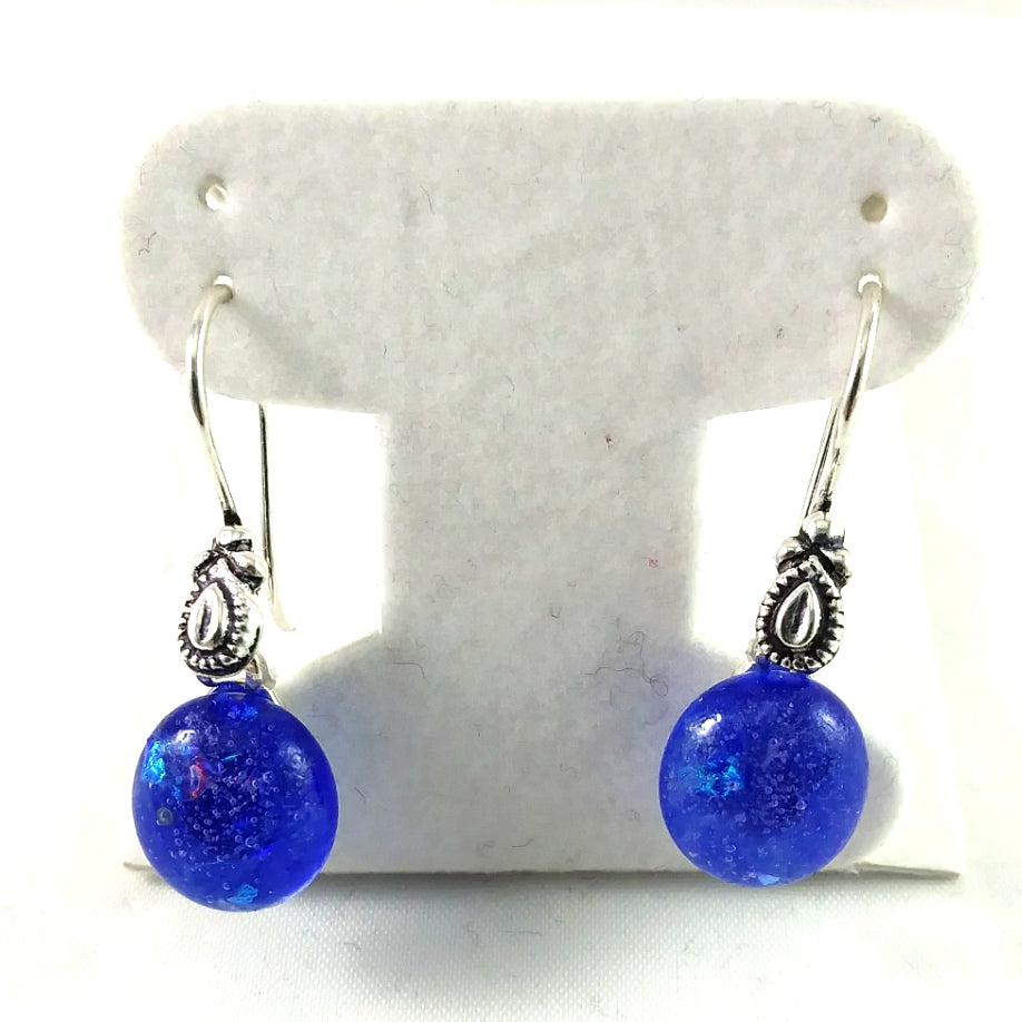 Handmade Blue and Dichroic Art Glass Earrings, Winter Gift