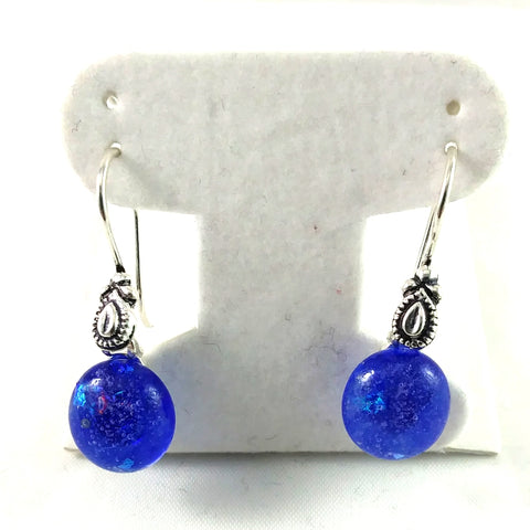 Handmade Blue and Dichroic Art Glass Earrings, Christmas Gift