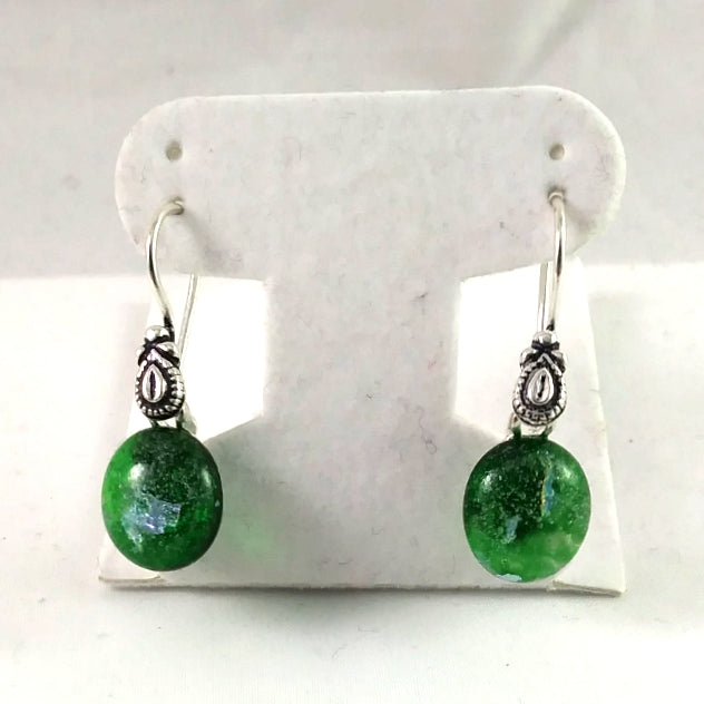 Handmade Green and Dichroic Art Glass Earrings, Winter Gift