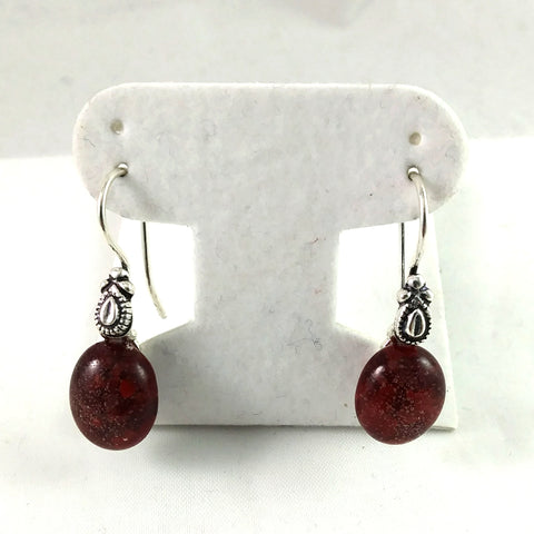 Handmade Red Art Glass Earrings, Christmas Gift