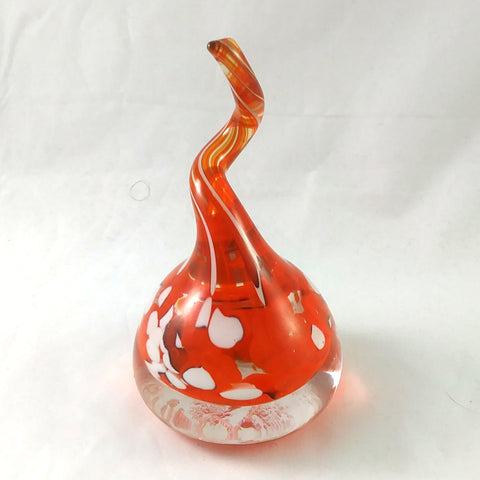 Handmade Art Glass Ring Holder, Orange and White, Large, Fall Gift