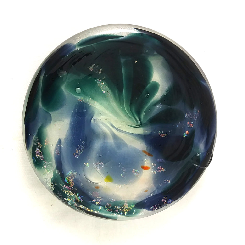 Art Glass Rondel for Stained Glass Work, Blue, Green, Dichroic, Other, 2.75""
