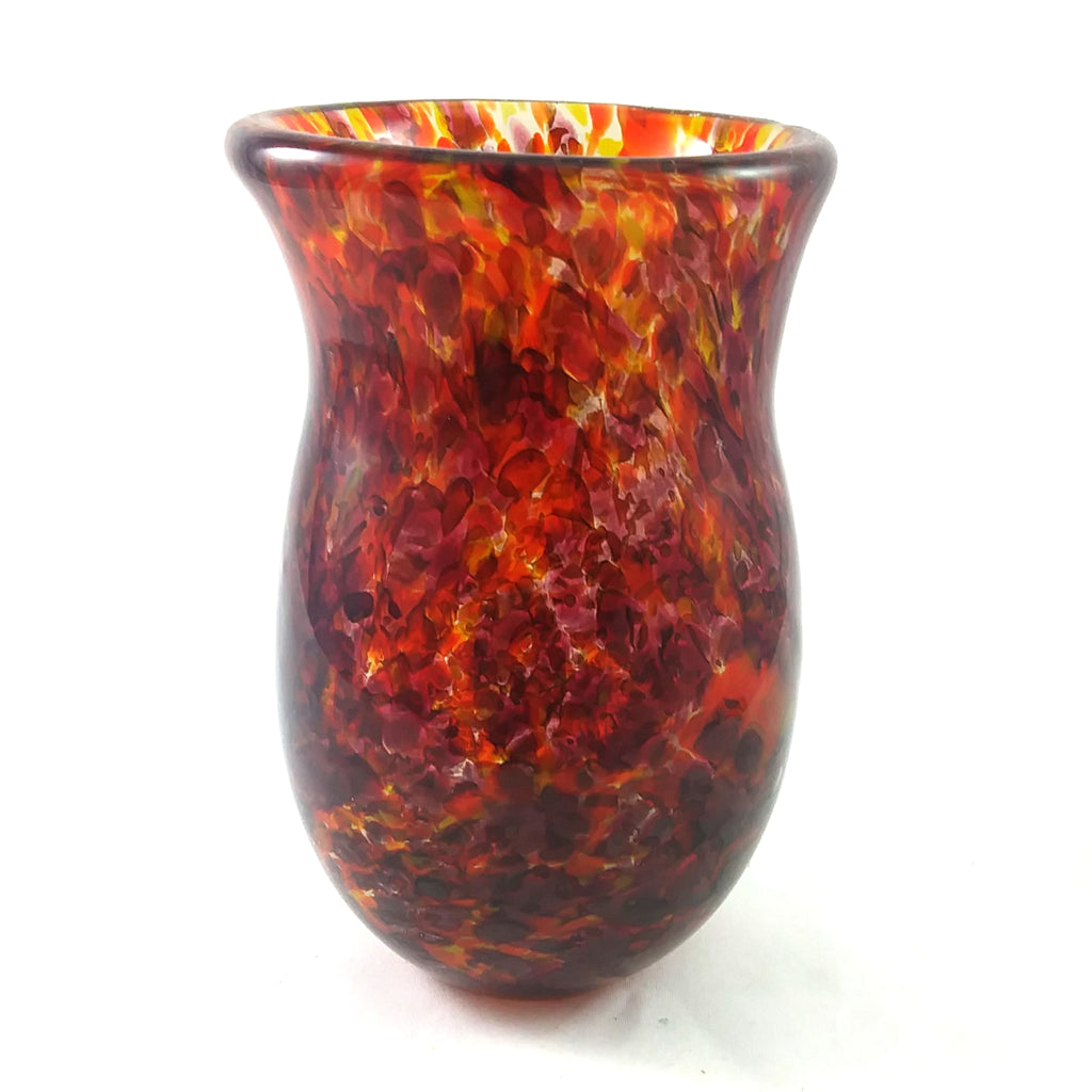 Handmade Art Glass Vase, Flame Colors, Small, Fall Gift