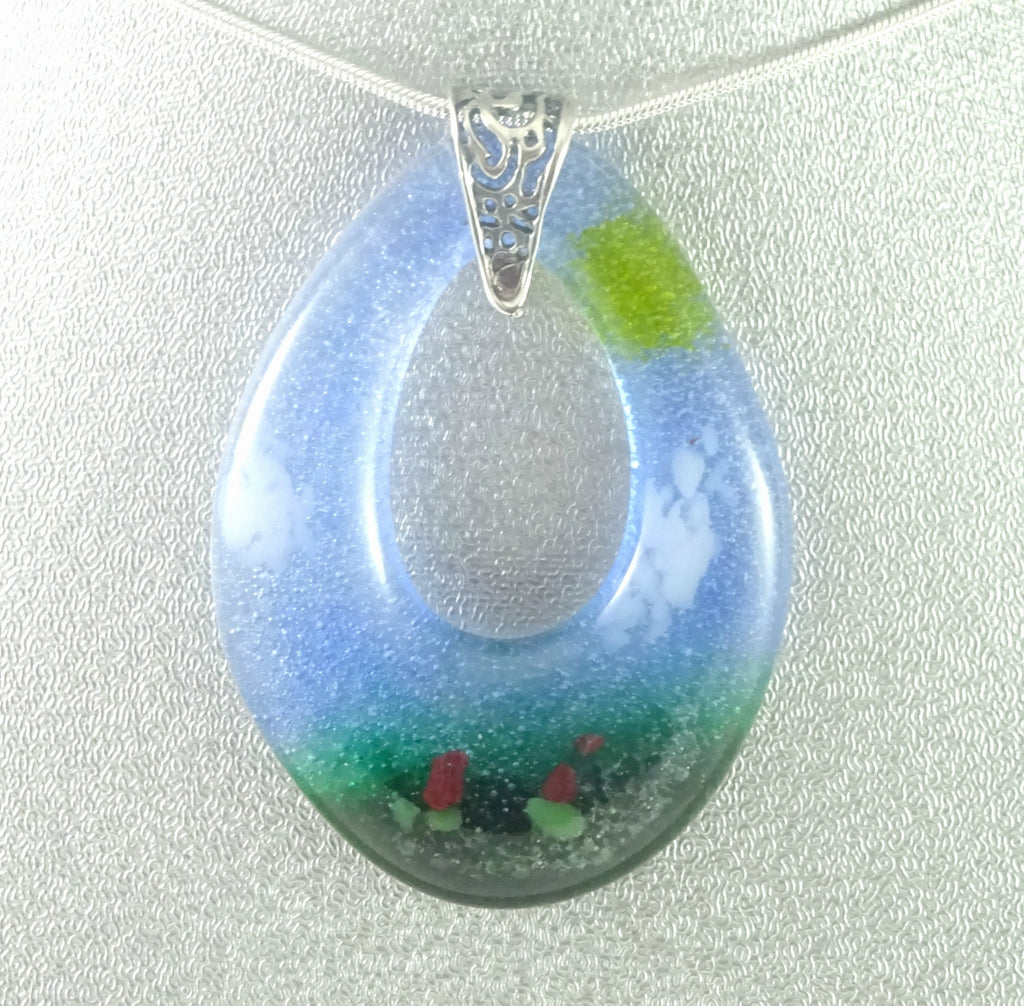 Blue Green and Yellow Sunrise Garden Art Glass Teardrop Jewelry Pendant
