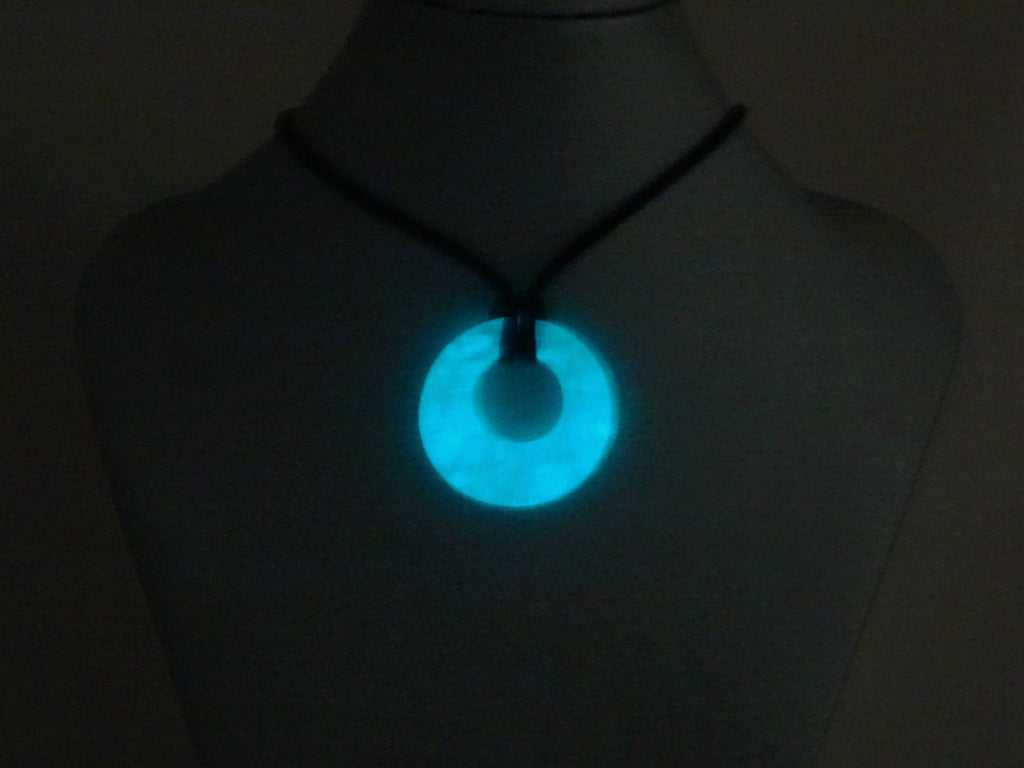 Blue Glow in the Dark Handmade Art Glass Hoop Jewelry Pendant