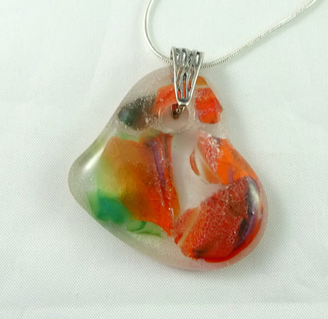 Handmade Recycled Art Glass Orange Green and Red Heart Jewelry Pendant
