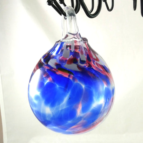 Large Handmade Christmas Ball Ornament / Garden Ball, Red White and Blue