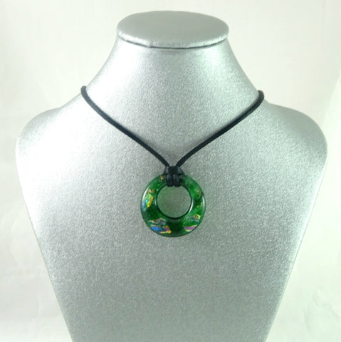 Handmade Art Glass Green and Rainbow Dichroic Hoop Jewelry Pendant, Great Mother's Day Gift!
