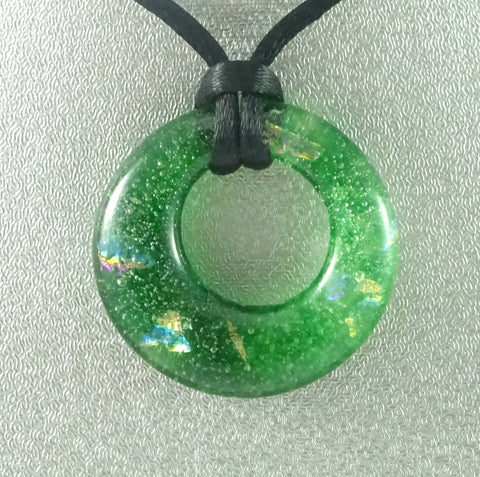 Handmade Art Glass Green and Rainbow Dichroic Hoop Jewelry, Design By, Second