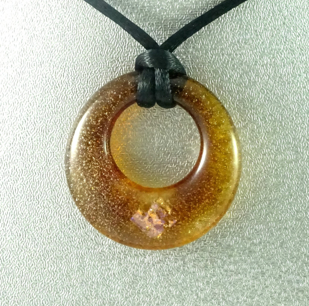 Handmade Art Glass Amber and Dichroic Hoop Jewelry Pendant, Fall Gift