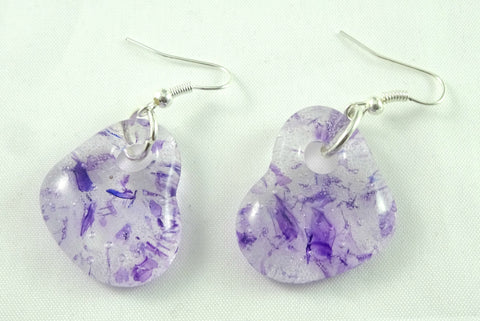 Handmade Purple Recycled Art Glass Heart Earrings, Great Mother's Day Gift