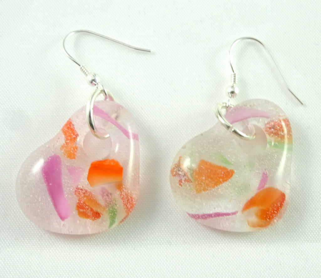 Handmade Orange and Pink Recycled Glass Heart Earrings, Great Mother's Day, Fall Gift