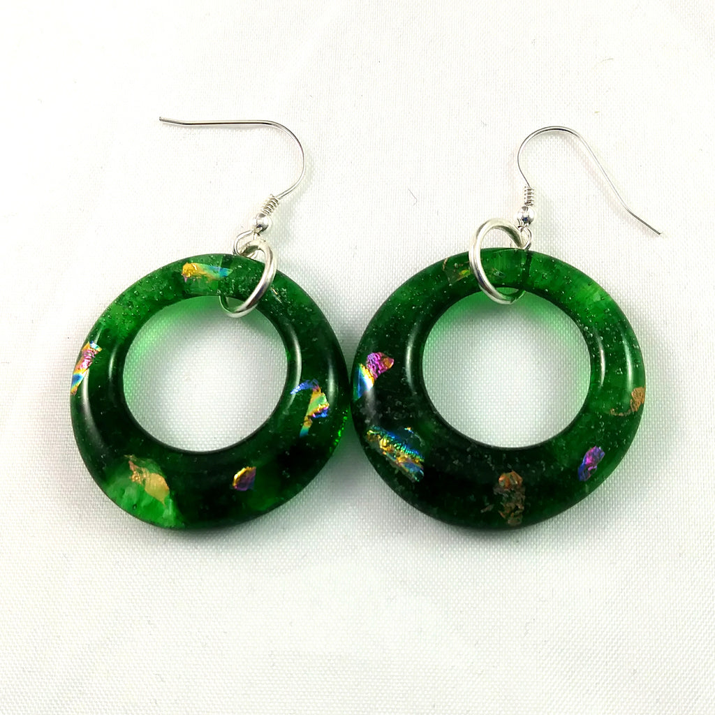 Handmade Green and Dichroic Glass Hoop Earrings