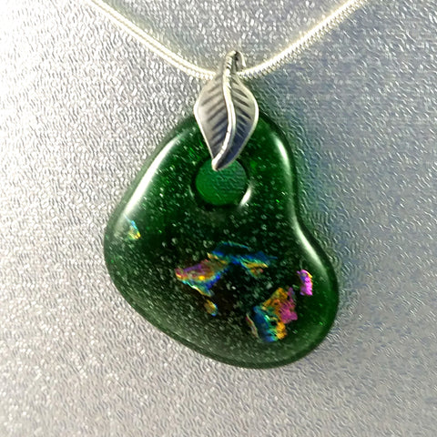 Handmade Art Glass Small Heart Jewelry Pendant, Green and Rainbow Dichroic Glass