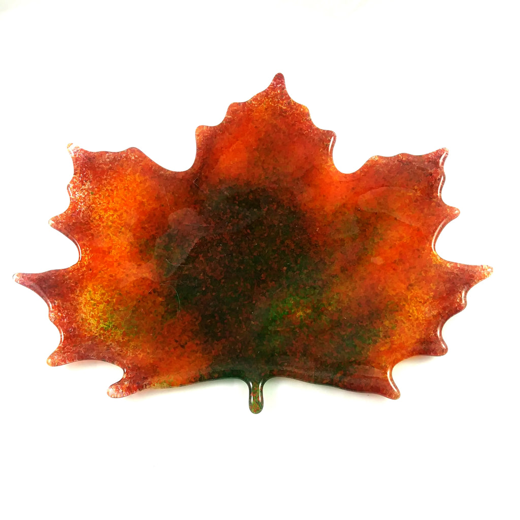 Large Art Glass Fall Maple Leaf, Green, Orange, Red, Amber, Yellow, Pink