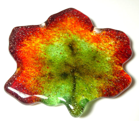 Small Art Glass Fall Maple Leaf, 2.75""