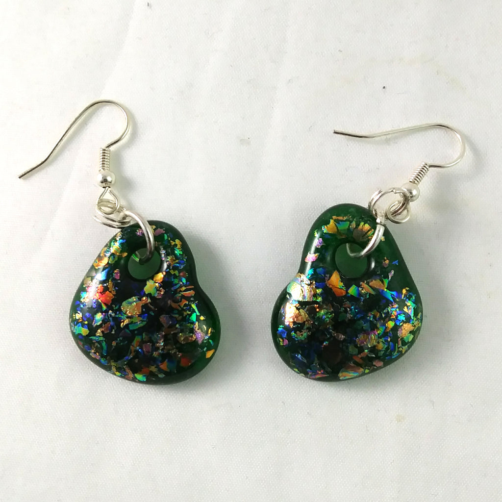 Handmade Art Glass Heart Earrings, Green and Rainbow Dichroic, Valentine Gift, Christmas Gift