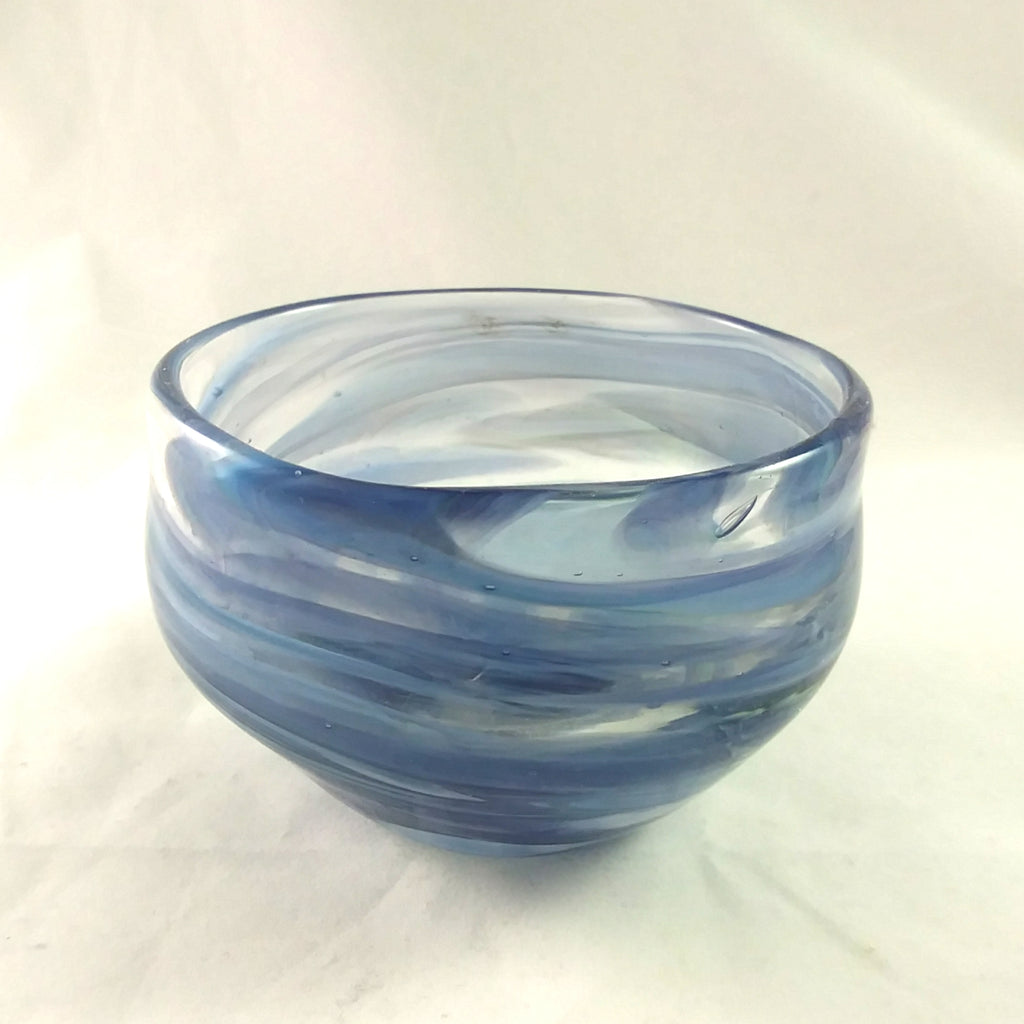Handmade Art Glass Candle Holder, Mixed Blues, Winter Gift