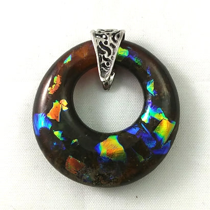 Sterling Silver Deep Amber and Rainbow Dichroic Handmade Art Glass Hoop Jewelry Pendant, Fall, Mother's Day Gift