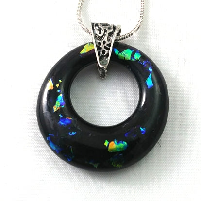 Purple and Rainbow Dichroic Handmade Art Glass Hoop Jewelry Pendant, Silver Plated