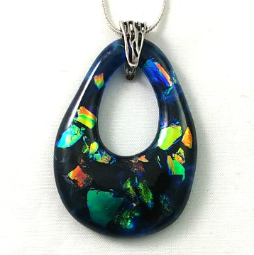 Turquoise and Rainbow Dichroic Handmade Art Glass Teardrop Jewelry, Silver Plated, SECOND