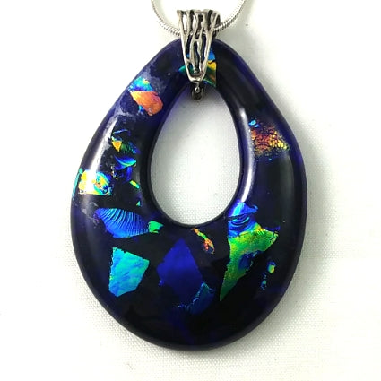 Handmade Art Glass Teardrop Pendant, Cobalt Blue and Rainbow Dichroic, Silver Plated