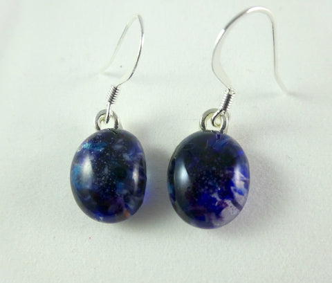 Handmade Deep Blue and Purple Art Glass Earrings