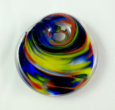 Handmade Yellow Blue and Red Hot Glass Jewelry Pendant