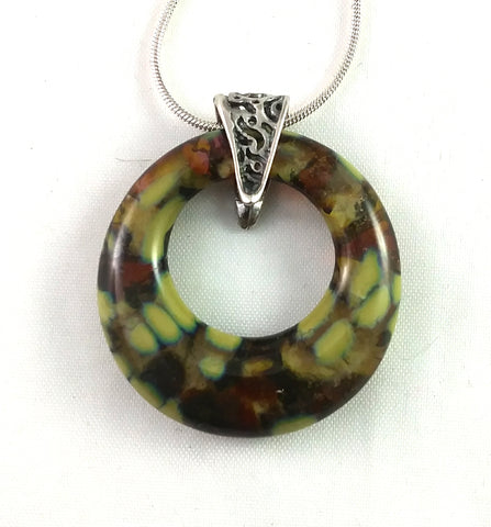 Handmade Art Glass Jewelry Hoop Pendant, Mixed Amber, Red, Olive, Fall Gift!