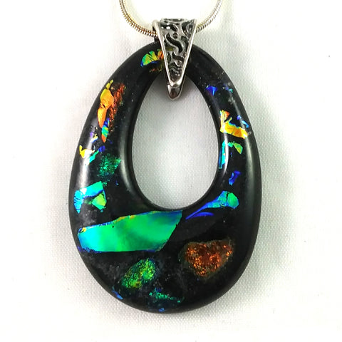 Black and Rainbow Dichroic Handmade Art Glass Teardrop Jewelry Pendant, Silver Plated