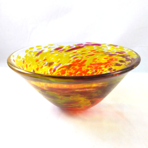 Handmade Art Glass Bowl, Red, Orange and Yellow, Small, Fall Gift