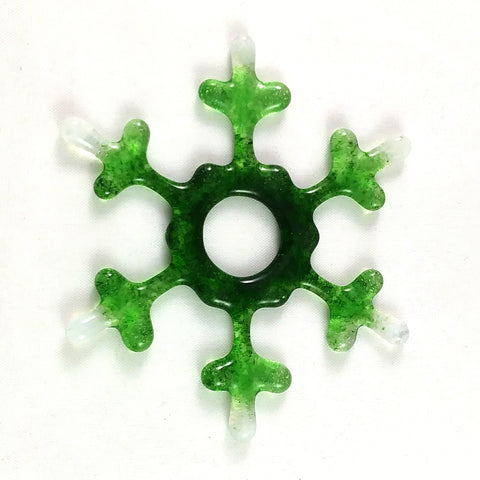 Handmade Artglass Snowflake Suncatcher, Mixed Greens and White