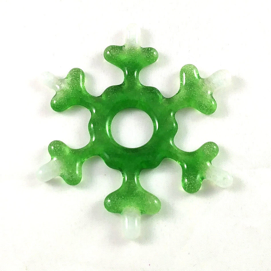Handmade Artglass Snowflake Suncatcher, Green and White