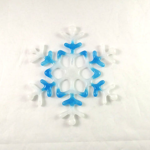 Handmade Light Blue, White, Snowflake Suncatcher, Glow in the Dark, Large