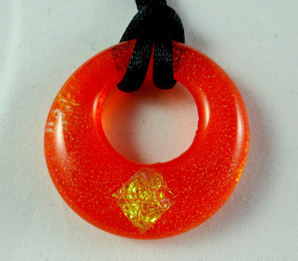 Handmade Art Glass Orange and Dichroic Hoop Jewelry Pendant, Fall Gift