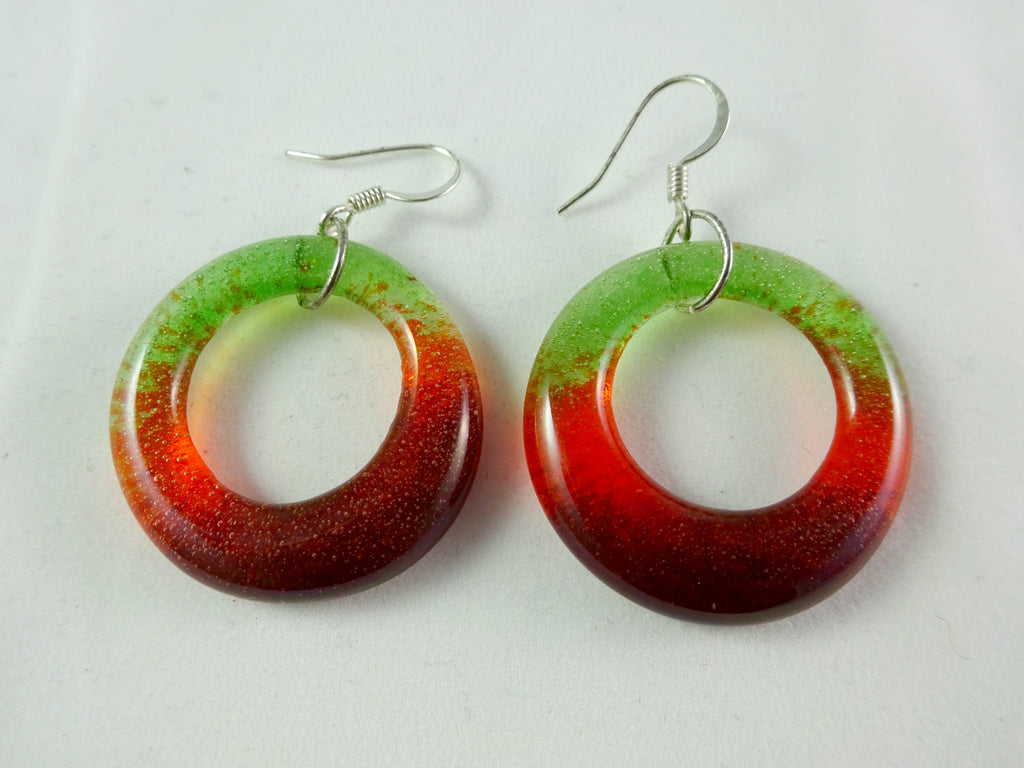 Handmade Red Orange and Green Glass Hoop Earrings, Great Mother's Day Gift