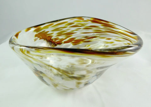 Handmade Amber and White Free Form Art Glass Bowl