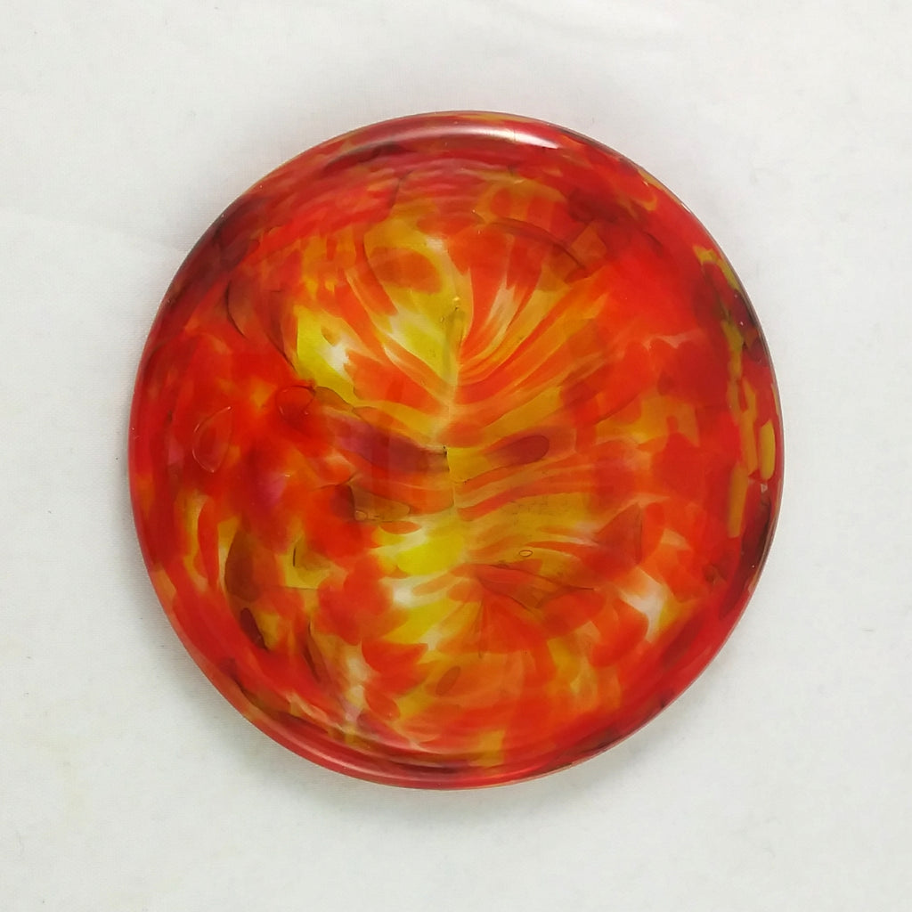 Art Glass Rondel for Stained Glass Work, Pink Orange Yellow, 3""