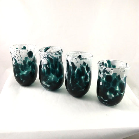 Handmade Art Glass Tumblers, Set of 4, Green and White, Christmas Gift