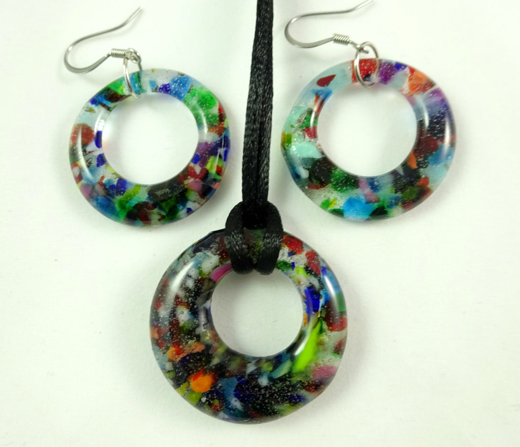 Handmade Art Glass Mixed Color Hoop Pendant and Earring Set, Glow in the Dark