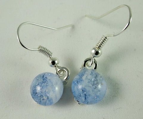 Handmade Blue and White Art Glass Earrings