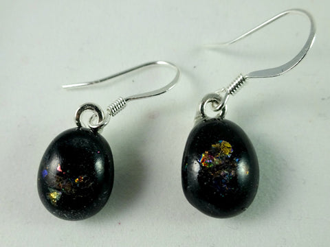 Handmade Dichroic and Black Art Glass Earrings, Great Mother's Day Gift