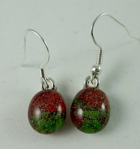 Handmade Red and Green Art Glass Earrings, Christmas Gift